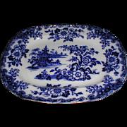 Gorgeous Flow Blue Platter HONG Maker Unknown