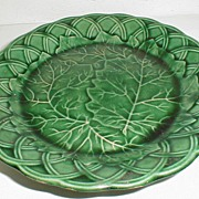 SOLD Lovely Antique Green Majolica Pedestal Dish, English