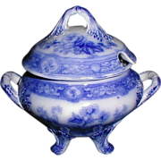 Lovely Flow Blue Floral Sauce Tureen w/Lid Unidentified