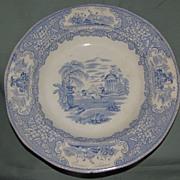 Lovely Blue Transferware Soup Plate, TRIUMPHAL CAR, Bell