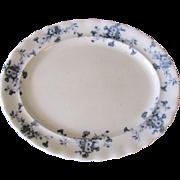 Lovely Flow Blue Platter (Small) Furnivals CARNATION c. 1890
