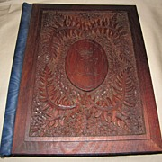 Lovely Victorian Carved (Punched) Wood Stationary Folder (Folio)