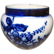 Small Lovely Flow Blue Jardiniere, Gilded, Unidentified