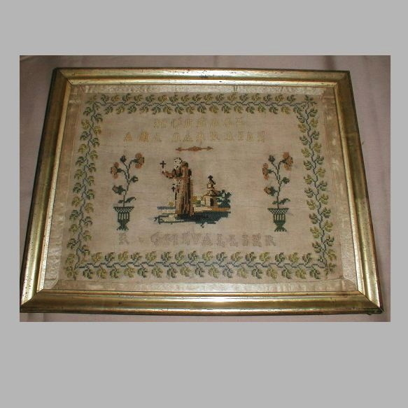 Lovely 19th Century Religious Sampler, French
