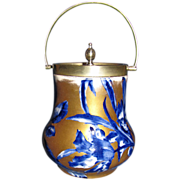 Gorgeous Gilded Flow Blue Biscuit Barrel, Thomas Forester & Co.