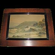 "REDUCED Lovely Vintage Framed SeaScape Print ""The Lizard Head"""