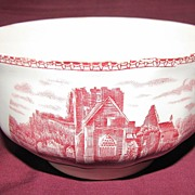 "Red Transferware Finger Bowl, ""Old Britain Castles"", Johnson Bros."