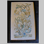 Wonderful Antique Silk Needlework Fragment, Framed
