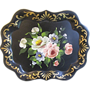 Lovely Vintage Black Floral Tole Tray, Chippendale Edge