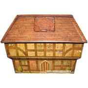 Early British Biscuit Tin, County House, Bank, Unmarked
