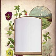 SALE Lovely Mat Frame from Victorian Photo Album, Pansies, a Landscape, a Seascape