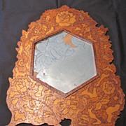 Most Unusual Pyrography Framed Wall Mirror