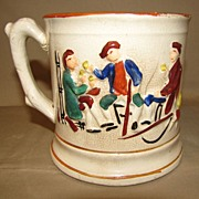 Antique Staffordshire Mug Raised Enameled Design, FROG Surprise