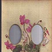 SOLD Lovely Colored Mat from Victorian Photograph Album, CYCLAMEN