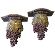 Pair of Large Syroco Wall Shelves (Sconces), Clusters of Grapes, Murobello