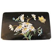 Very Large Papier Mache Ladies Snuff Box, Daisies & Butterflies