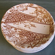 Brown Aesthetic Transferware Butter Pat, Doulton, Ca. 1880, 10 Available
