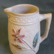Small Cream Early Majolica Pitcher, Floral, Basketweave
