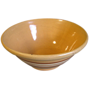 Large Early Yellow Ware Bowl Brown Stripes, No Marks