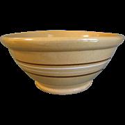 Vintage Yelloware Bowl, Brown & White Stripes