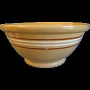 SOLD Vintage Large Yelloware Bowl, Brown & White Stripes