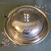 Victorian Round Silver Plate Butter Dish Wm. Rogers