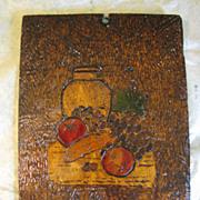 Unusual Pyrography (Flemish Art) Plaque, Fruit Still Life