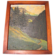 REDUCED Lovely Oil Painting, LANDSCAPE, Trees, Mountains, Stream, Framed 1946