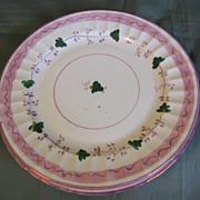 Lovely Set of 4 Pink Lustre Dessert Plates, 19th Century