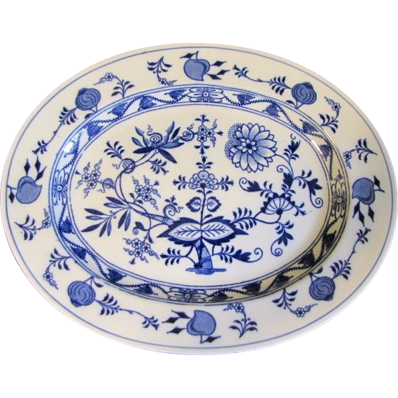 Lovely Blue & White Oval Platter, MEISSEN, Brown-Westhead, Moore, 1862+
