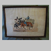 "C. 1821 Colored Engraving Henry Alken ""The Consequences of Having Plenty of Company on the Road"""