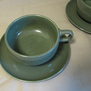"SOLD Russel Wright Mid-Century ""American Modern"" CEDAR GREEN Cup & Saucer"