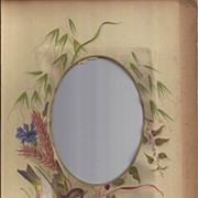 SOLD Photograph Mat from Victorian Photo Album, Bird, Wheat, Cornflower