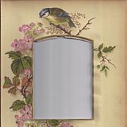 SOLD Photograph Mat from Victorian Photo Album, Bird, Pink Wild Roses