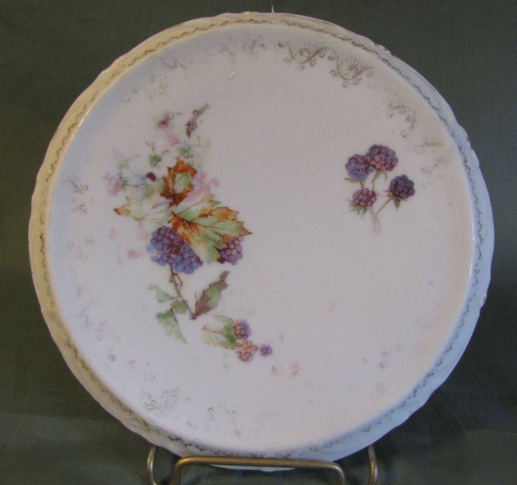 Lovely Porcelain Trivet, Blackberries and Vines