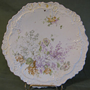 Lovely White Porcelain Trivet, Lavender Flowers