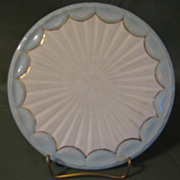 Lovely Vintage China Trivet, Blue Border, Not Marked