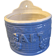 Early 20th Century Blue Stoneware Salt Crock