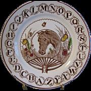 Horse Lovers! ABC Staffordshire Plate W. Adams Circa 1890
