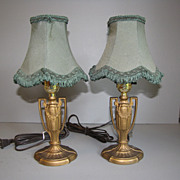 REDUCED Lovely Pair of Vintage Small Metal Lamps