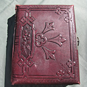 Lovely Antique Victorian Leather Photograph Album, Chromolithograph Pages