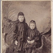 SOLD Victorian Cabinet Photograph of Young Girls in Victorian Dress