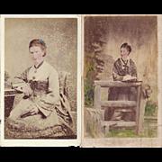 SALE Carte de Visite Photographs, Ladies in Victorian Dress, Tinted