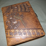 Lovely Leather Victorian Photo Album 8 Chromolithograph Pages