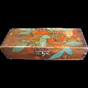 Vintage Flemish Art (Pyrography) Glove Box, Cherries, Painted