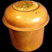 REDUCED Small Round Wood Powder Box, Cupid
