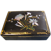 Lovely Lacquered Papier Mache w/MOP Trinket Box
