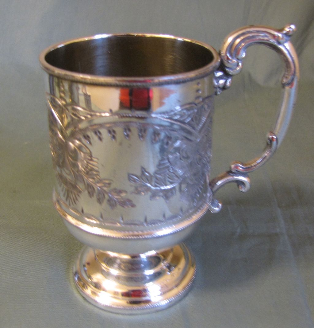 Lovely Engraved Silver Plate Child's Cup, Marked