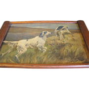REDUCED Large Arts & Crafts Wood Tray, Hunting Dog Print Under Glass