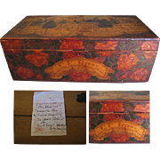Unusual 1916 Pyrography Wedding Box, Folk Art at Its Best